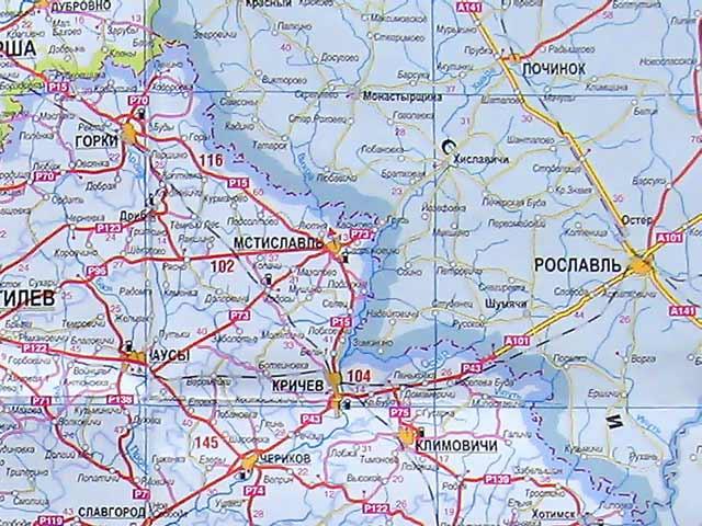 Карта Могилёвской области.