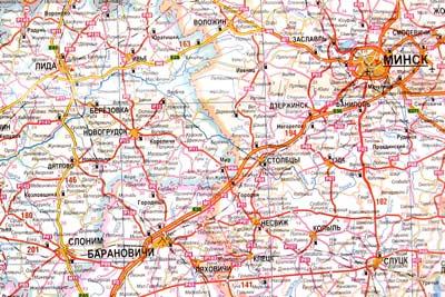 Карта автомобильной дороги Москва - Брест